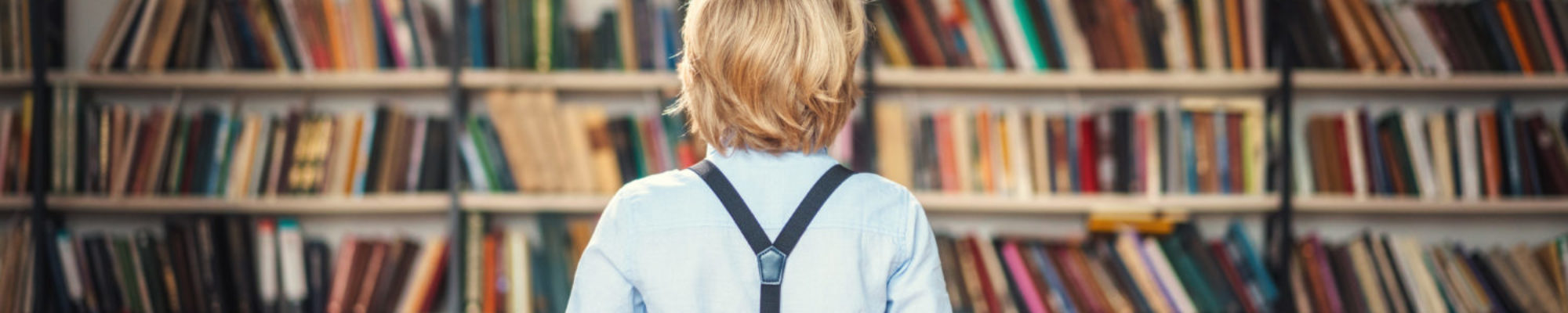 Little pupil in library